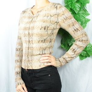 Sweaters - Express Snake Print Gold Button up Cardigan Small